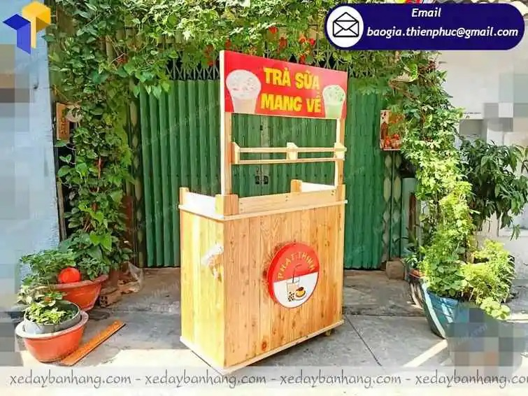 xe gỗ bán trà sữa giá rẻ đẹp